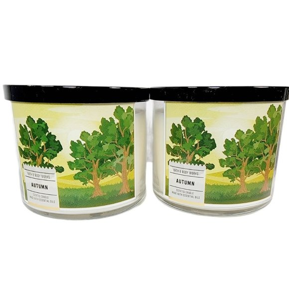 2 Bath & Body Works AUTUMN SCENTED 3 Wick Candles
